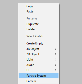 hierarchyビューで右クリックして、ParticleSystemを選択